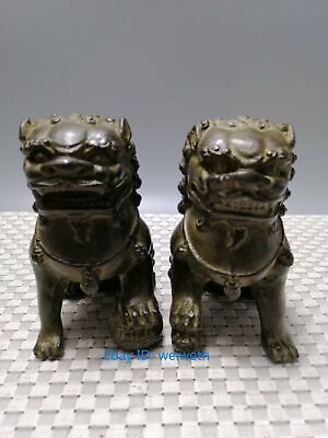 $ CDN84.60 • Buy A Pair Old Antiques Chinese Bronze Fu Foo Dog Guardian Lion Statue