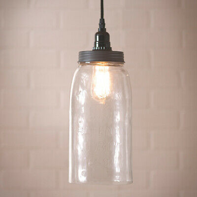 $75.95 • Buy Large Mason Clear Glass Jar Primitive Country Colonial Home Pendant Lighting