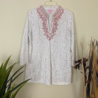 $12.99 • Buy Lilly Pulitzer Sarasota Cotton Tunic Top White Womens Size Large L 100% Cotton
