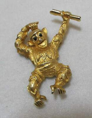 $ CDN51.97 • Buy Rare Vtg ROGER VAN S Monkey Chimp With Diploma Graduate Gold Tone Brooch