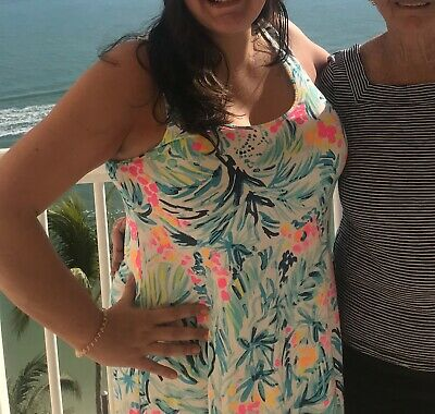 $15.50 • Buy Lilly Pulitzer Serene Blue Tippy Top Melle Dress Tank Racer  L Large