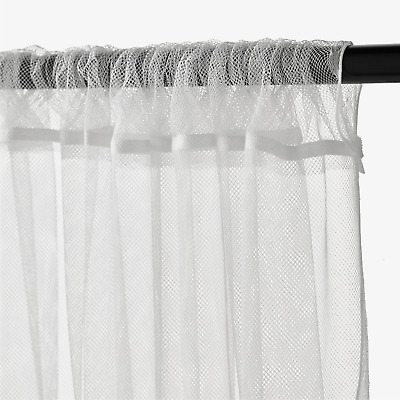 1 Pair Of IKEA LILL White Long Net Curtains Window Lace Sheer Blinds 250x280cm • 11.44£