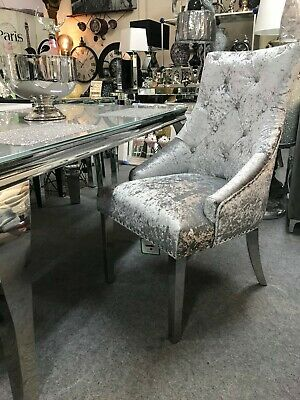 £629.99 • Buy 4x Silver Crushed Velvet Dining Chair With Chrome Leg And Knocker Back Ring Pull