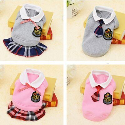 £10.54 • Buy School Style Pet Dog Clothes Cat Chihuahua Clothing Dress Pugs Puppy Coat Outfit
