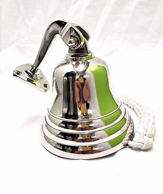 """Brass Last Orders Bell Chrome Pub Bell Wall Mounted Home Marine Nautical 4"""" • 13.95£"""