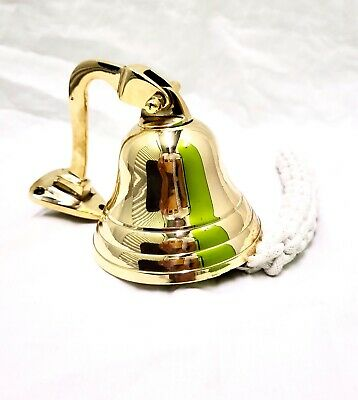 """Brass Ships Bell Last Order Bell Wall Hanging Pub Bell Marine Nautical 4"""" • 14.95£"""