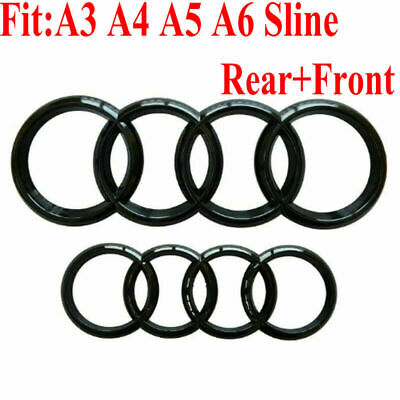 Set Front & Rear Grille Badge Rings Logo Emblem Black Gloss For Audi A3 A4 A5 A6 • 13.99£
