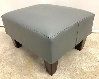 Small Footstool Pouffe Present Grey Faux Leather Wooden Leg Stool British Made • 43.95£