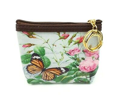 $9.49 • Buy Coin Purse Butterfly Roses Vintage Style Keychain Clip ID Credit Card Holder 2