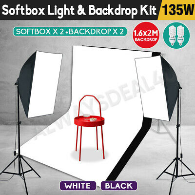 Photography 2PCS Backdrop Soft Box Studio Softbox Lighting Video Light Stand Kit • 43.98£