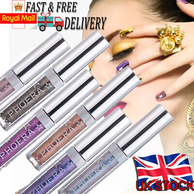 PHOERA Metals Glitter And Glow Liquid Eyeshadow HOT 5 COLORS-UK STOCK FAST SHIP • 5.99£