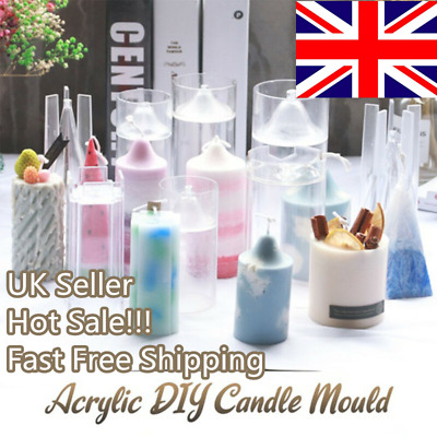 Handmade Clear DIY Candle Molds Candle Making Mould Soap Molds Clay Craft Gift • 5.42£