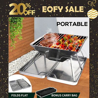AU44.99 • Buy Charcoal BBQ Grill Foldable Barbecue Portable Outdoor Steel Roast Camping Picnic