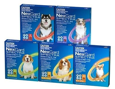 AU97.95 • Buy Nexgard Spectra Chewables Green For Dogs 7.6-15kg 6 Pack