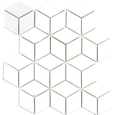 Bijou Gloss Hexacube 3D White Ceramic Mosaic Wall Tiles Per Sheet • 2.95£