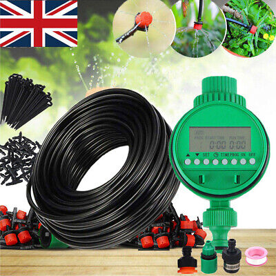 Automatic Drip Irrigation System Kit Plant Timer Self Watering Garden Hose 25M • 19.99£