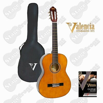 AU99 • Buy VALENCIA CLASSICAL NYLON STRING NATURAL GLOSS GUITAR With BAG - SELECT SIZE