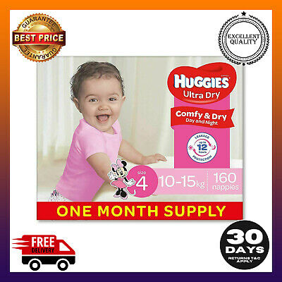 AU79.99 • Buy Huggies  Nappies, Girls, Size 4 Toddler (10-15kg), 160 Count   Multibuy %off