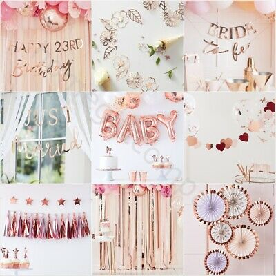 Rose Gold Bunting Banner Backdrop Birthday Wedding Party Decorations Supplies • 7.99£