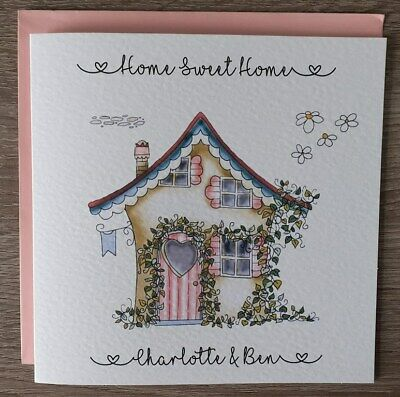 Handmade Personalised 6  Square New Home Card Lovely House Design • 3.99£
