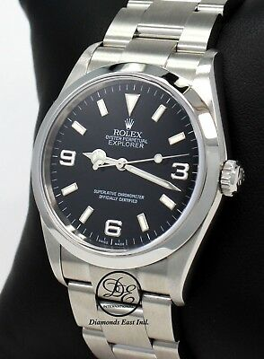 $ CDN8524.75 • Buy Rolex Explorer I 114270 Stainless Steel Oyster Black Dial Watch PAPERS *MINT*