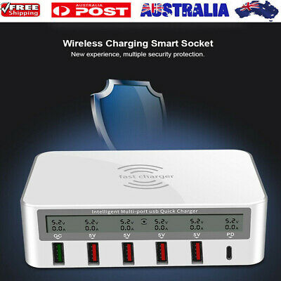 AU36.89 • Buy Type-C Multi-port USB Wireless Fast LCD Smart Charger Mobile Charging Dock Pad