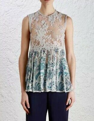 $179.99 • Buy Zimmermann Tank Top 1 Adorn Lace Sheer Gray Blue Indienne Floral Blouse $530