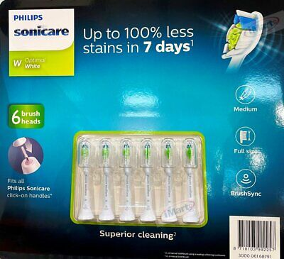 AU55.68 • Buy 6x Genuine Philips Sonicare Optimal White Electric Toothbrush Replacement Heads