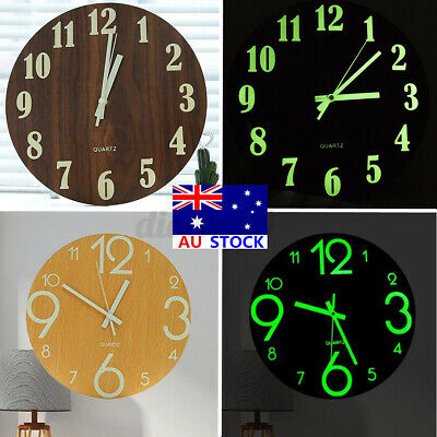 AU23.79 • Buy AU 12'' Wooden Luminous Wall Clock Silent Glow In The Dark Home Room Decor