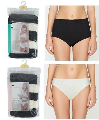 Ladies Full Brief Knickers High Leg Ex Store Embroidered Cotton Black White Size • 6.95£
