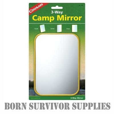 £4.99 • Buy COGHLAN'S 3-WAY CAMPING MIRROR 5 X7  Stand Up Tent Pole Shaving Travel Camp Wash