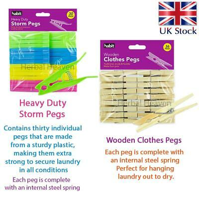 Wooden Pine Clothes Pegs Heavy Duty Storm Peg Hanging Pins Clips Airer Dryer New • 3.99£