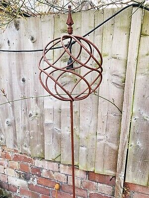 Rustic Metal Sphere Ball On Stick Garden Plant Support Rusty Decorative Ornament • 49£