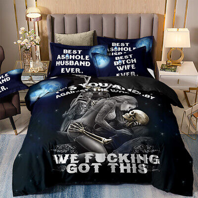 Motorbike Skull Sexy Girl Duvet Cover Gothic Love Romantic Lover Bedding Set New • 23.99£