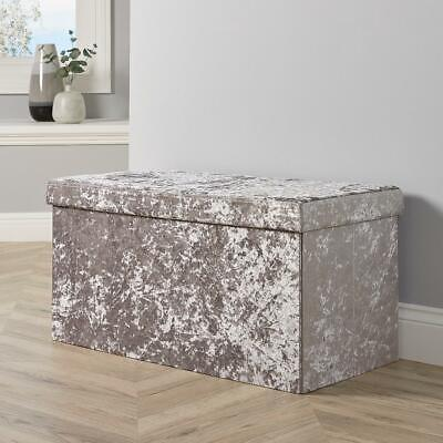 Large Folding Ottoman Silver Ice Velvet Fabric Chest Storage Space Saving Box • 23.99£