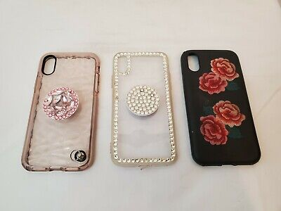 AU14.97 • Buy Apple IPhone X Case Black Sonix & Clear With Bling & Popsockets - Pre-Owned Lot