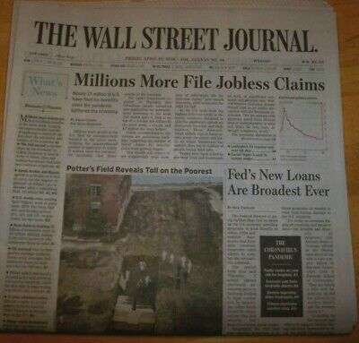 $8 • Buy THE WALL STREET JOURNAL FRIDAY  APRIL, 10th 2020 POTTERS FIELD REVEALS TOLL