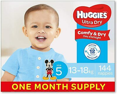 AU85.59 • Buy Huggies Ultra Dry Nappies Boys Size 5 Crawler 13-18kg 144 Count One-Month Supply