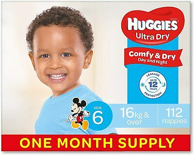 AU85.59 • Buy Huggies Ultra Dry Nappies Boys Size 6 Junior (16kg+) 112 Count One-Month Supply