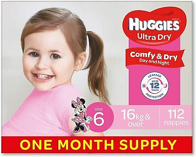 AU84.59 • Buy Huggies Ultra Dry Nappies Girls Size 6 Walker 16kg+ 122 Count One Month Supply