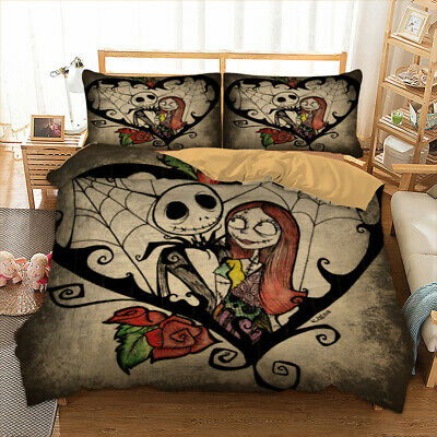 Nightmare Before Christmas Jack And Sally Duvet Cover Romantic Lover Bedding New • 23.99£