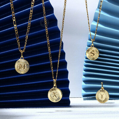 $9.99 • Buy 18  New Gold Plated Initial Letter Necklace Pendant Stainless Steel Figaro Chain
