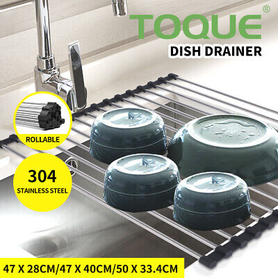 AU17.99 • Buy TOQUE Dish Rack Drying Drainer Over Sink Stainless Steel Rack Roll Up Foldable