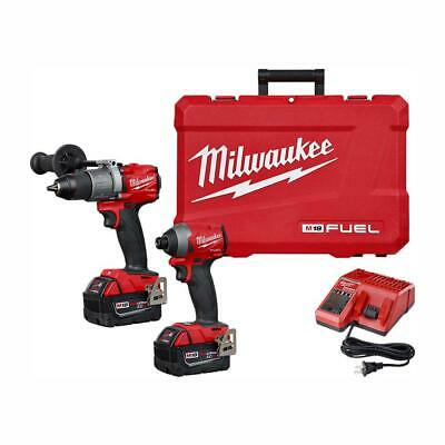 Milwaukee M18 FUEL Brushless Cordless Hammer Drill & Impact Kit With 2 Batteries • 360.22£