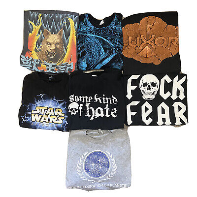 $ CDN49.95 • Buy Lot Of 7 Medium T Shirts Vintage Wholsale Lot Bands Wrestling Star Wars Trek