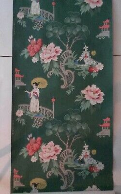 VTG ASIAN 1940s 1950s WALLPAPER Mid Century CHINOISERIE DK GREEN 3 Available W86 • 113.32£