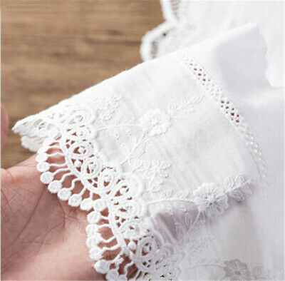 1 Yard Embroidery Floral Cotton Lace Trim Ribbon 14cm Wide Wedding Fabric Sewing • 2.63£