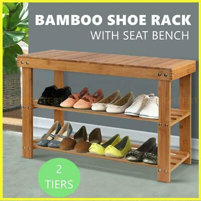 AU43.95 • Buy Bamboo Shoe Rack Stand Wooden Seat Bench Organiser Shelf Stool Chair Storage Cab