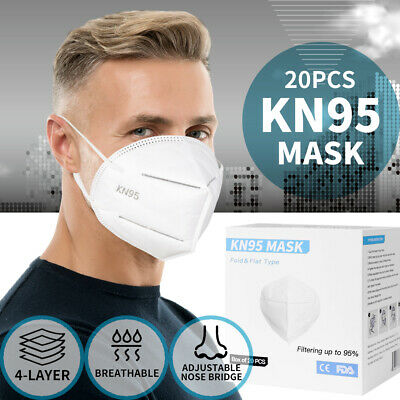 AU69.99 • Buy 20pcs N95 KN95 Mask Disposable Face Masks Filter Reusable  Respirator Anti Dust