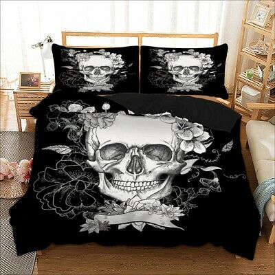 Skull Floral Duvet Cover Pillowcase Zipper Closure Gothic Death Love Bedding Set • 23.99£